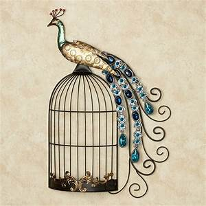 peacock jewels on cage metal wall art With peacock wall art