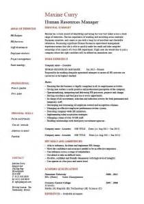 resume for hr manager human resources manager resume
