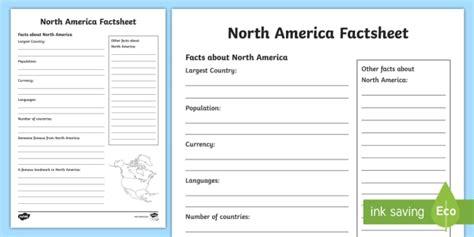 North America Factsheet Writing Template  North America, North America Fact
