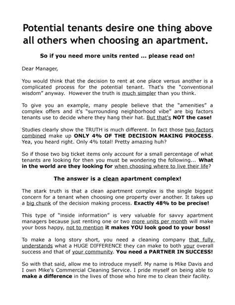 apartment turnover cleaning flyer  sales letter combonation