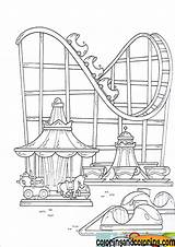 Park Coloring Amusement Pages Fair Parks Theme Drawing Coaster Roller Sheet Fun Disney Shelton Adult County Colouring Achterbahn Karussell Und sketch template