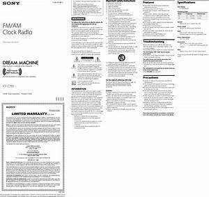Sony Dream Machine Icf C705 Users Manual