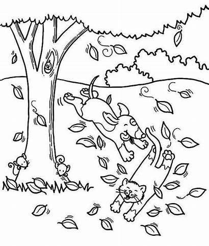 Coloring Cat Dog Pages Fall Tree Autumn