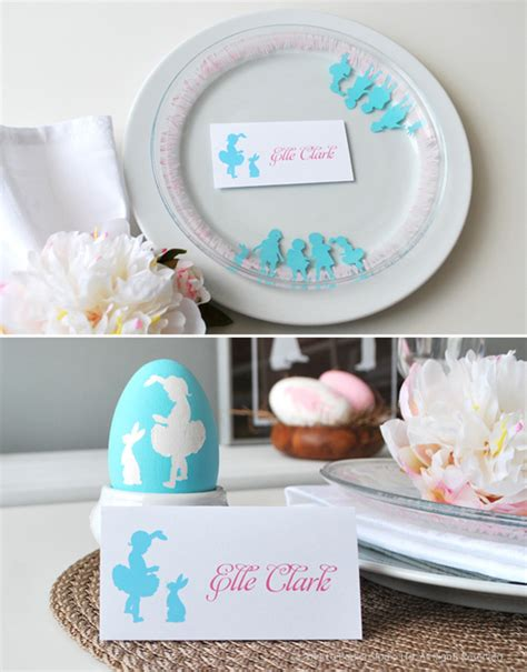 diy tutorial easter silhouette plates bowls hostess