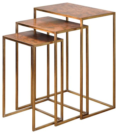 accent table ls contemporary uttermost set of 3 copres oxidized nesting tables 24449