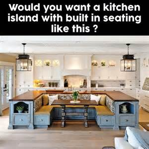 Kitchen Island With Table Seating Kitchen Island With A Built In Bench Kitchen Table Need This In My Future Home Future Home