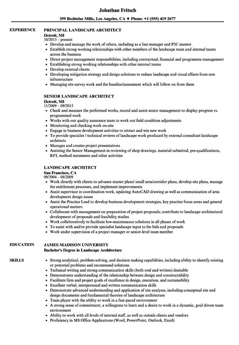landscape architect resume samples velvet jobs