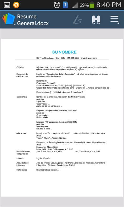 Templates De Resume En Espanol by Resume En Espanol Resume Template 2017