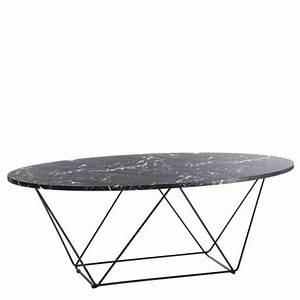 Table Marbre Ovale : table basse ovale flavia en mdf noir marbr et m tal ~ Teatrodelosmanantiales.com Idées de Décoration