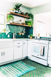 boho kitchen reveal the whole enchilada the jungalow With kitchen cabinets lowes with turquoise and black wall art