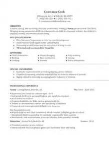 nanny description on resume nanny agency resume sle