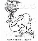 Coloring Hunchback Candelabra Outline Vector Cartoon Carrying Printable Designs sketch template