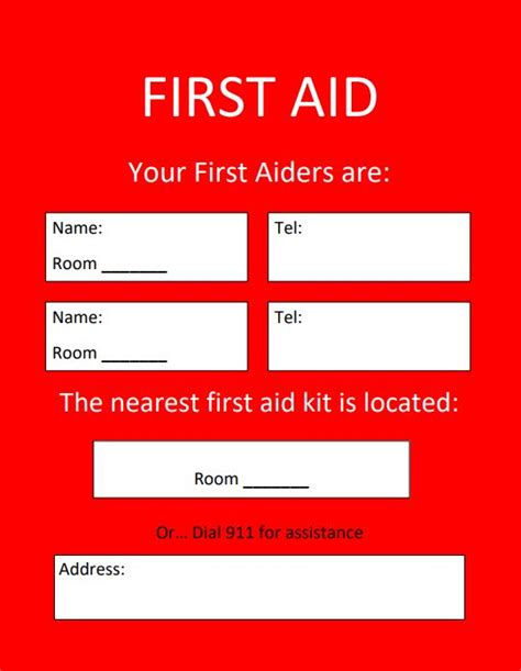 aid location template health safety