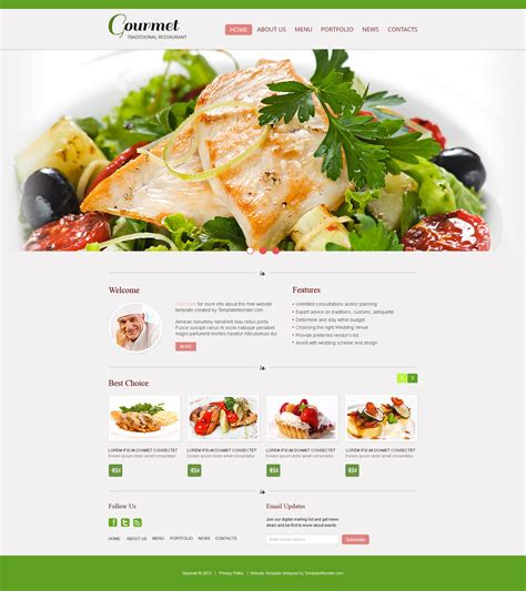 cuisine site free website template restaurant