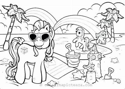 Coloring Beach Pages Vacation Summer Printable Pony