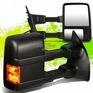 Black Manual Side Towing Mirrors Led Turn Signal For F250