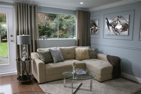 Neutral Sectional In Blue Living Room