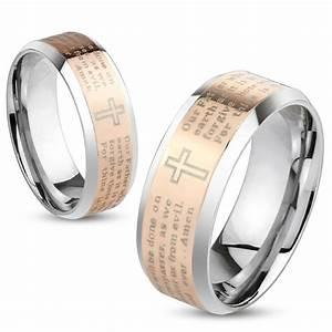 lord39s prayer cross rose gold ip stainless steel wedding With prayer for wedding rings