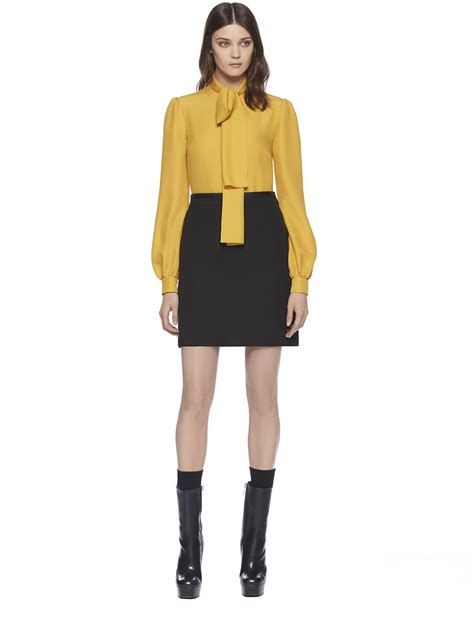 gucci blouse gucci silk cloque scarf blouse in yellow lyst