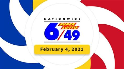 Draw number 64 of 2021. PCSO Lotto 6/49 Results February 4, 2021