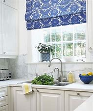 Blue and White Roman Shades for Kitchen