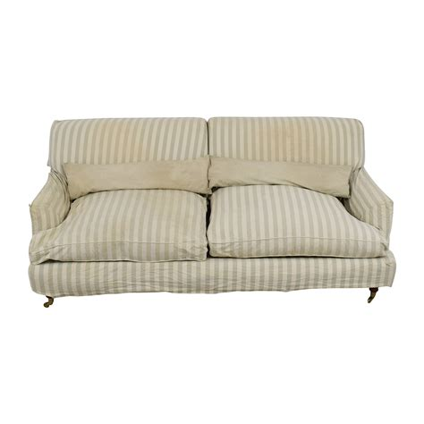 Striped Sofas by 90 Green And White Striped Roll Arm Sofa