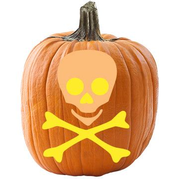 skull  crossbones pumpkin stencil