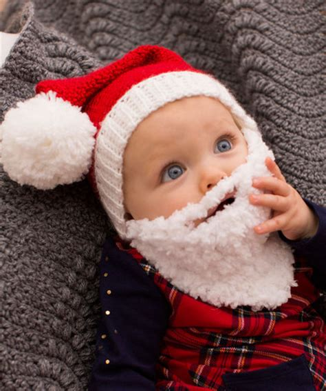 baby santa hat with beard red heart