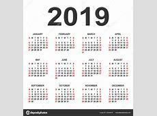 달력 2019 년 벡터 디자인 서식 파일 — 스톡 벡터 © forden #182560876