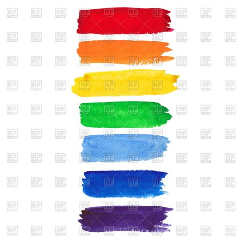 watercolor brush strokes in colors of rainbow royalty free