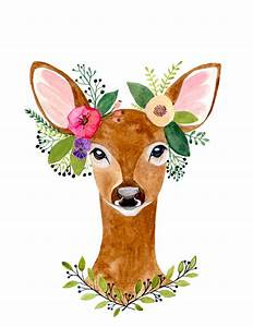 Deer Print Deer Antler Woodland Decor Wall ArtWoodland