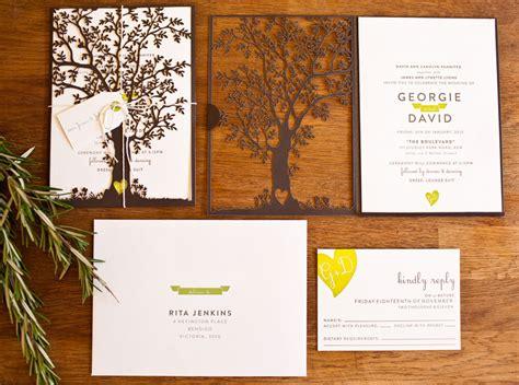 nature inspired laser cut wedding invitations