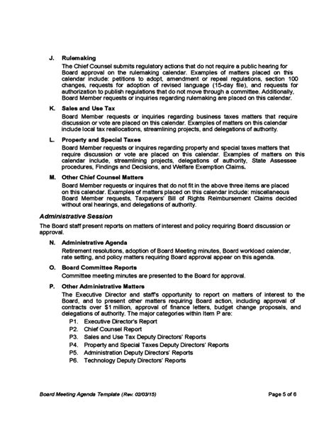 board meeting agenda template california