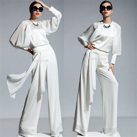 white jumpsuit with sleeves 2 pcs suit 2013 fall chiffon sleeve white