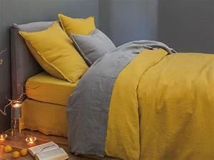 Linge De Lit Lin Lavé Soldes : linge de lit housse de couette en lin lav safran ~ Teatrodelosmanantiales.com Idées de Décoration