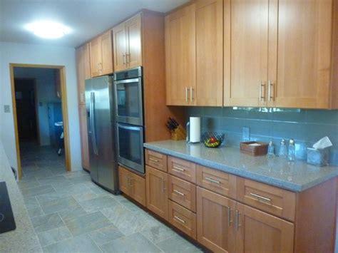 natural beech wood shaker galley refrigerator wall