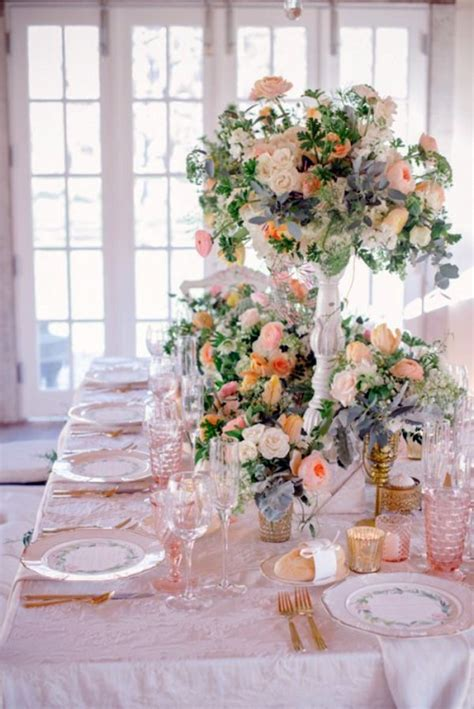 wedding decor  creamy  peach colors interior