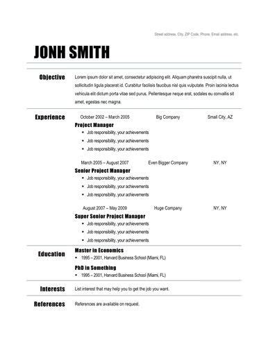 Free Simple Resume Templates by Chronological Resume Template Zafar Simple Resume