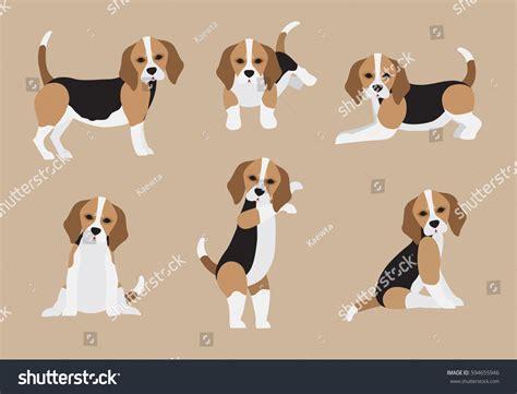 Set Cute Cartoon Beagle Modern Flat Stock Vector 594655946