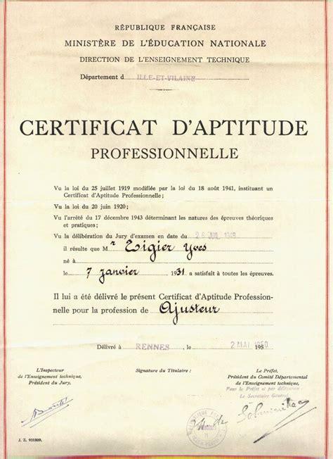 certificat daptitude professionnelle wikipedia