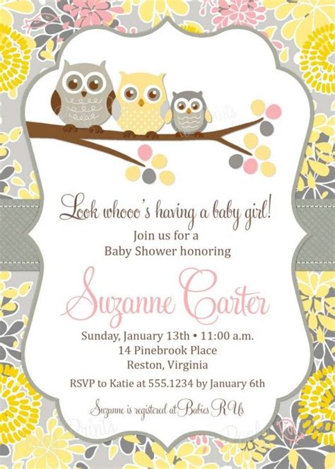 baby shower invitations  printable owl theme baby