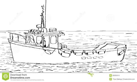 Village Boat Drawing by Fishing Boat Drawing Croquis De Bateau Images Stock