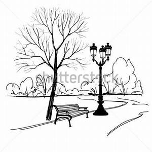 City Park Black And White Clipart