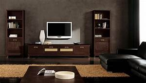 modern ethnic living room with small tv stand and two With wooden furniture living room designs