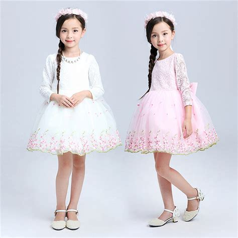Teenage Girls Clothes White Pink Tutu Dress Long Sleeve Easter Dresses For Girls 10 Years Lace ...