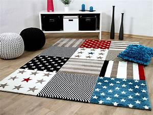Teppich Stern Blau : kinder und jugend teppich maui sterne rot blau g real ~ Markanthonyermac.com Haus und Dekorationen