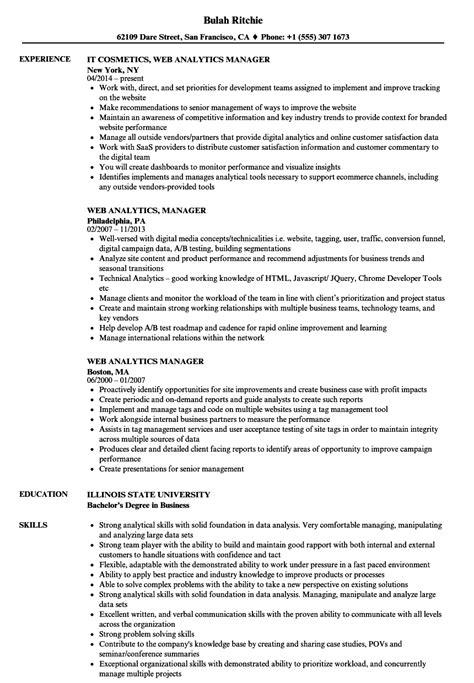 Resume For Analytics by Web Analytics Manager Resume Sles Velvet