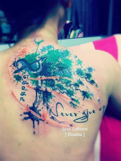 vintage tree  life watercolor tattoo  shoulder blade