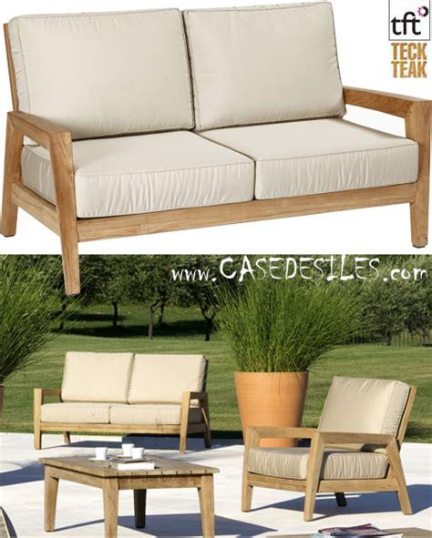 canapé teck canapé bas teck design de jardin 2 pl 5001