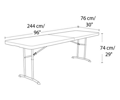 standard folding table size fresh lifetime products 80175 8 ft almond fold in half folding table